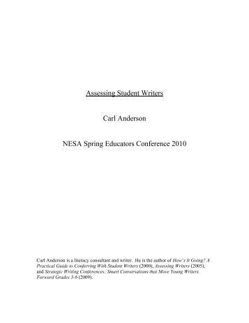 Assessing Student Writers Carl Anderson NESA Spring Educators ...