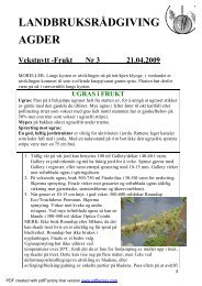 Vekstnytt frukt nr 3 21042009 - Norsk Landbruksrådgiving Agder