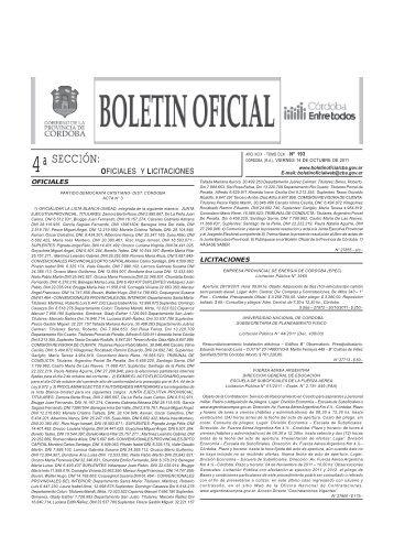 4ªSECCIÓN: - Boletín Oficial de la Provincia de Córdoba