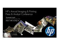 HP's Annual Imaging & Printing Press & Analyst ... - Hewlett Packard
