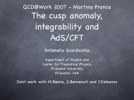 The cusp anomaly, integrability and AdS/CFT - Infn