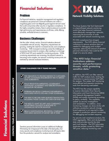 Financial Solutions Brief - Ixia