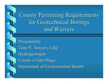 County Permitting Requirements for Geotechnical Borings and ...