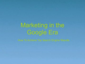 Search Engine Marketing in the Google Era - Voices.com