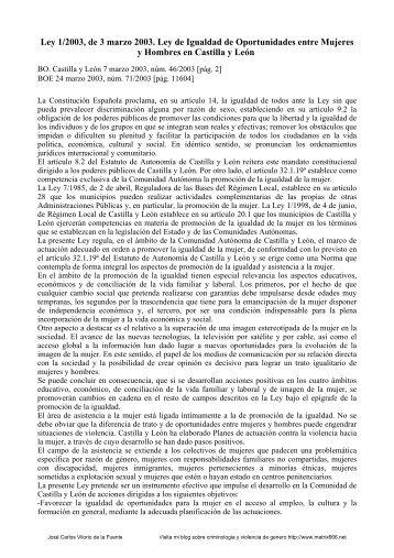 Ley 1/2003, de 3 marzo de Igualdad de Oportunidades ... - Matrix666