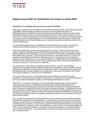 Rapport annuel 2007 de l'Association de soutien au Centre NIKE