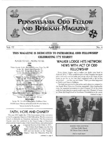 Apr - Grand Lodge of Pennsylvania, Independent Order of Odd ...