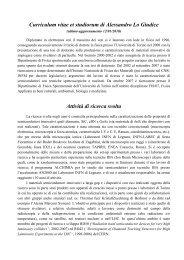 Curriculum - Fisica Sperimentale