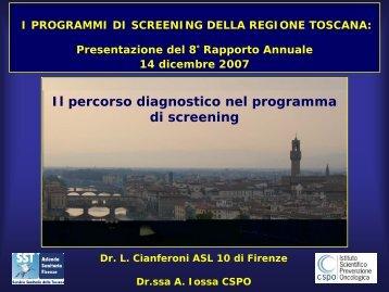 Il percorso diagnostico nel programma di screening - Centro per lo ...