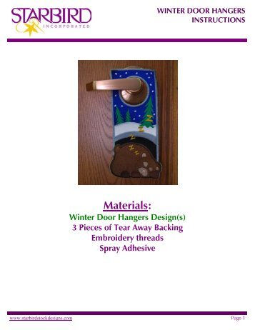 instructions on how to make your own embroidered door hanger.