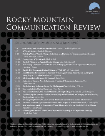 Rocky Mountain Communication Review - Humis.utah.edu ...