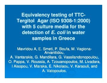 Equivalency testing of TTC Equivalency testing of TTC