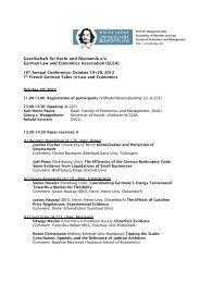 Gesellschaft für Recht und Ökonomik e.V. German Law and ...