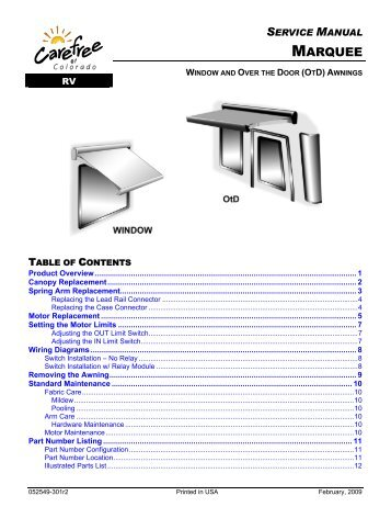 Carefree Marquee Awning Service Manual