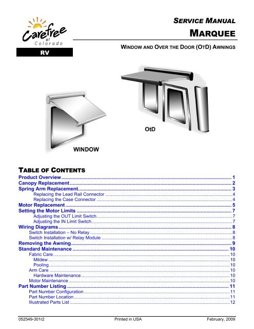 Carefree Marquee Awning Service Manual Rv Tech Library
