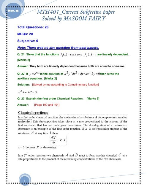 MTH401 - Differential Equations Solved Midterm Subjective     - vuZs