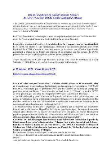 Dix ans d'autisme en suivant Autisme France : de l'avis 47 à l'avis 102