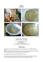 Spätzle Zutaten für 2 Portionen Zubereitung