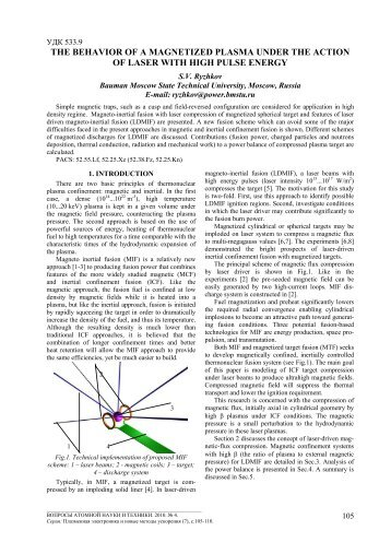 THE BEHAVIOR OF A MAGNETIZED PLASMA UNDER THE ...