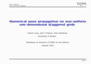 Numerical wave propagation on non-uniform one-dimensional ...