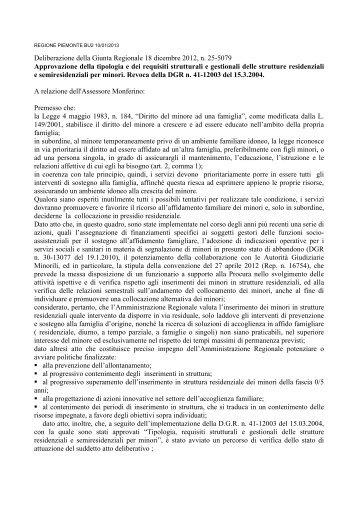 D.G.R. 18 dicembre 2012 n. 25-5079 - Regione Piemonte