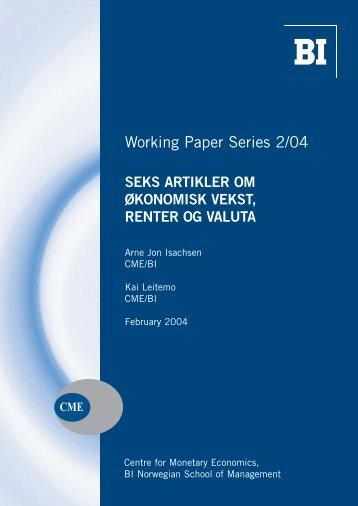 Working Paper Series 2/04