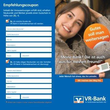 Flyer zu Kunden werben Kunden - VR-Bank in Südniedersachsen eG