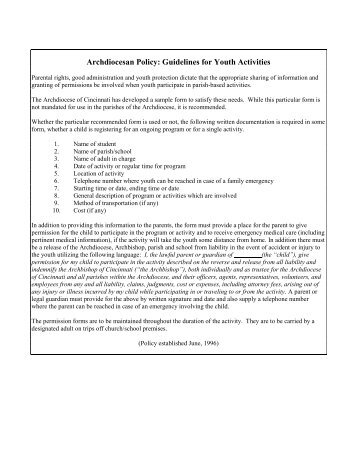 Children'S/Youth Medical Release Form - Mennonite Convention 2013