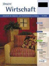 Unsere Wirtschaft 11/2006 - Industrie und Handelskammer zu Coburg