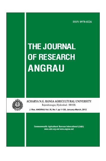 Contents of 40(1) 2012 - Acharya N.G. Ranga Agricultural University