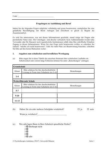 Fragebogen zum kennenlernen für schüler