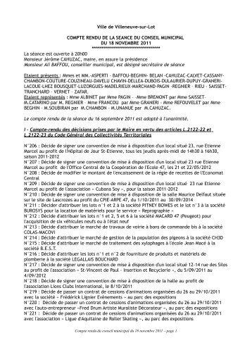 Séance du 18 novembre 2011 - Villeneuve sur Lot