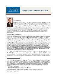 Duties of Directors in the Insolvency Zone (AR2009-51 ... - Torys