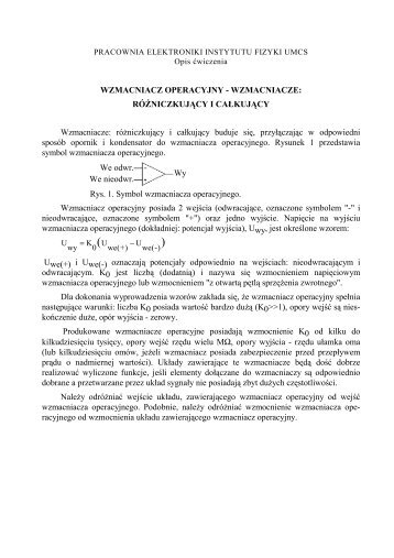WZMACNIACZ OPERACYJNY - WZMACNIACZE ... - Lublin