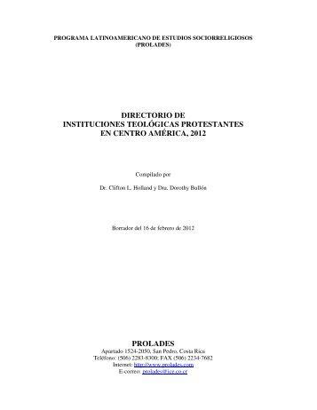 DIRECTORIO DE INSTITUCIONES TEOLÓGICAS ... - Prolades.com