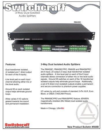 3 Way Dual Isolated Audio Splitters