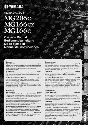 MG206C/MG166CX/MG166C Owner's Manual - zzounds.com