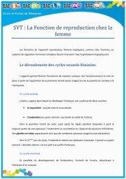 SVT : La Fonction de reproduction chez la femme - Bac S