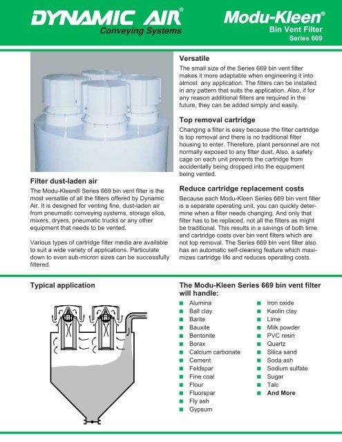 Modu-Kleen® Bin Vent Filter Series 669 - Dynamic Air Inc
