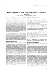 Health Education in Timor Leste (East Timor): A Case Study