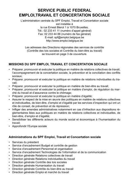 Premiers secours au travail (PDF, 667 KB) - Service public fédéral ...