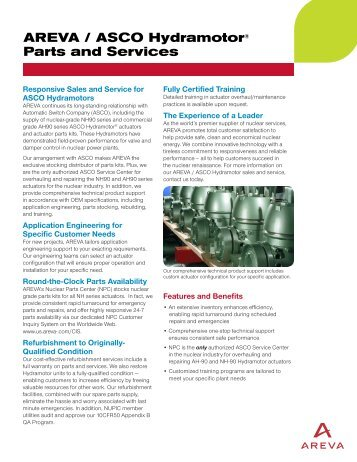 AREVA / ASCO Hydramotor® Parts and Services - AREVA NP Inc.