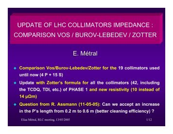 update of the LHC collimator impedance