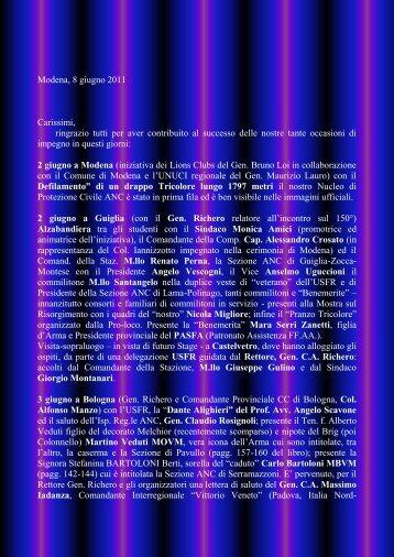 Modena, 8 giugno 2011 Carissimi, ringrazio tutti per aver contribuito ...