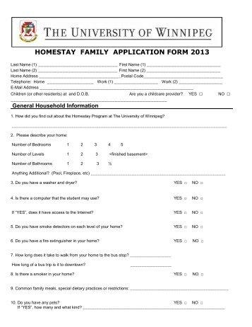 Host Family Application Form - University of Winnipeg