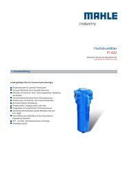 Hochdruckfilter Pi 422 - MAHLE Industry - Filtration