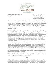 Travel Salem Named Top 100 Best Green Companies to Work For in ...