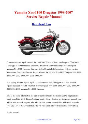 yamaha xvs 650 dragstar 1997 2004 service repair manual. Black Bedroom Furniture Sets. Home Design Ideas