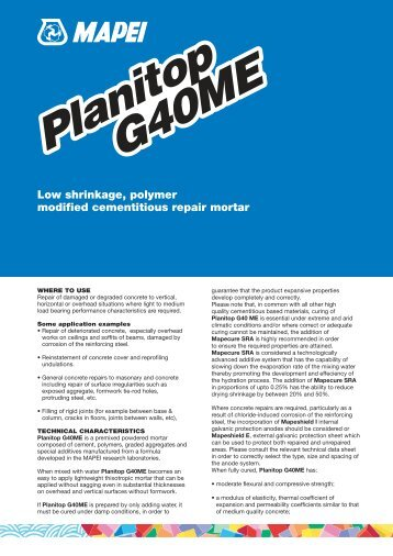 Planitop G40ME Technical Data Sheets - The Future Build
