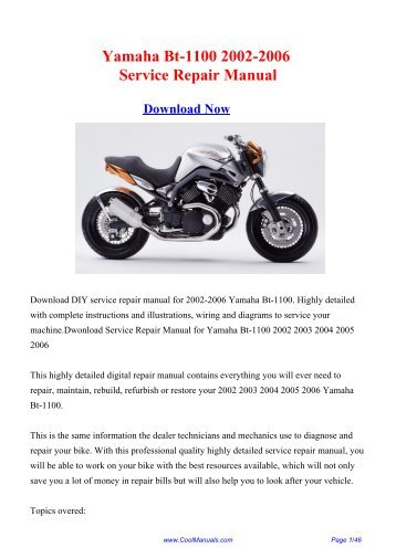 Yamaha Bt-1100 2002-2006 Service Repair ... - CoolManuals.com